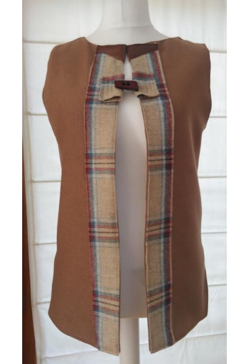Warm Cinnamon & Checked Tweed Gilet with Gold Paisley Lining
