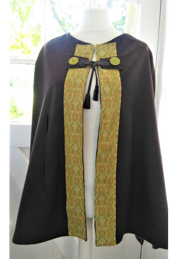 Chocolate & Apple Green Soft Wool Cape with Taffeta Lining