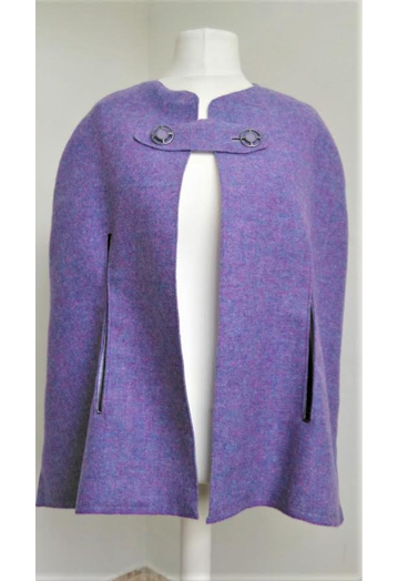 Striking Tailored Violet Tweed Cape Coat with Lilac Lining