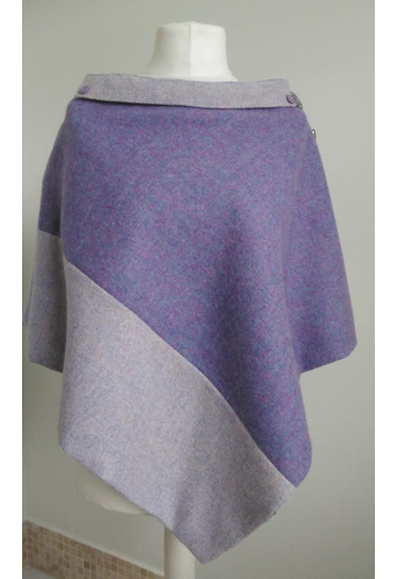 Two Tone Violet & Pale Lilac Tweed Cape with Lilac Lining