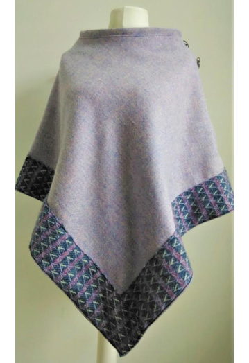 Pale Lilac Tweed Cape with Blue Wool Bordering & Paisley Lining