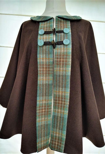 Super Soft Coco Brown & Teal Tweed Cape with Horse Print Lining