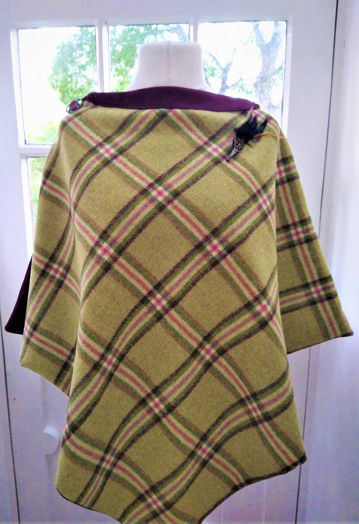 Olive Green, Plum & Pink Check Tweed Cape with Satin Lining