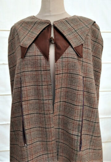Super Fine Tweed Cape Coat with Cobalt Velvet Lining