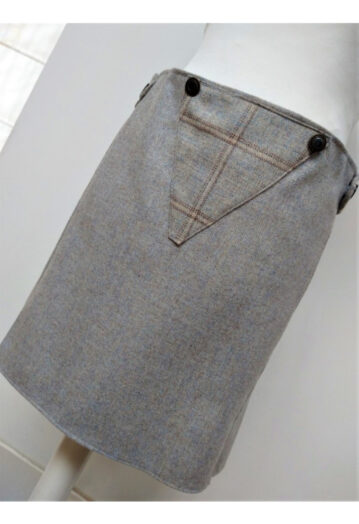 Pale Dove Blue Brown Tweed Skirt with Paisley Lining
