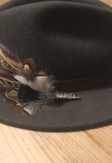 Feather Hat pin with Silver Cone