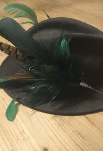 Large Green Feather Hat Pin