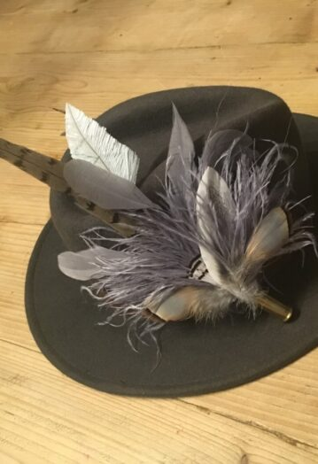 Grey toned Feather Hat Pin in bullet casing