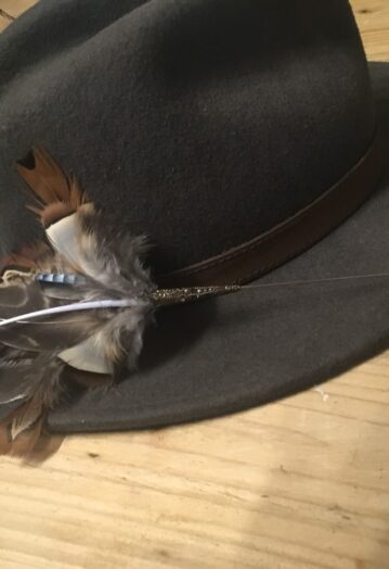 Feather Hat pin with Blue tones