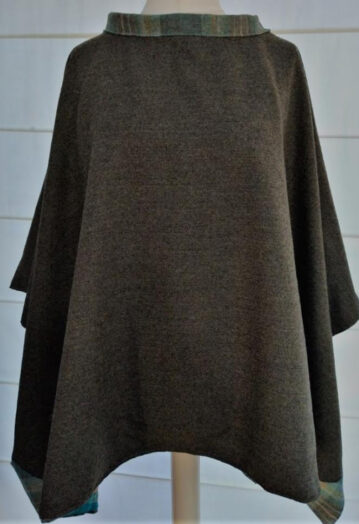 Super Soft Taupe Tweed Cape with Teal Peacock Lining