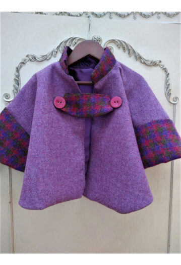 Raspberry Pink Childs Tweed Cape with Aubergine Taffeta Lining (2–3yrs)