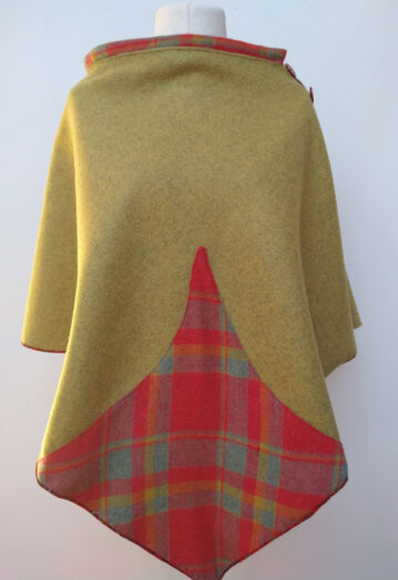 Olive Green Wool Cape with Red Paisley Lining